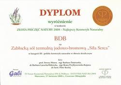 BDB Sp. z o.o. dnia 27 kwietnia 2008 r. otrzymała wyróżnienie w konkursie ZŁOTA PIECZĘĆ NATURY 2008 w kategorii 'Najlepszy Kosmetyk Naturalny' za Zabłocką Sól Termalną
